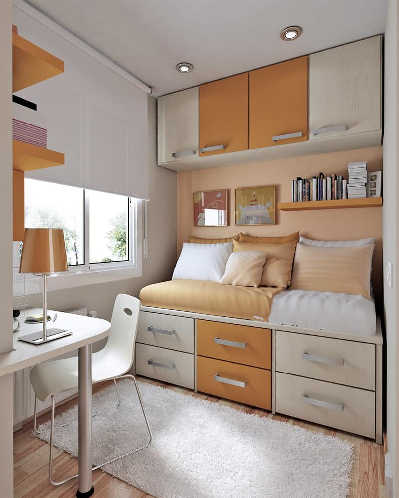 compact bedroom design. 10 Tips on Small Bedroom Interior Design homesthetics  Homesthetics