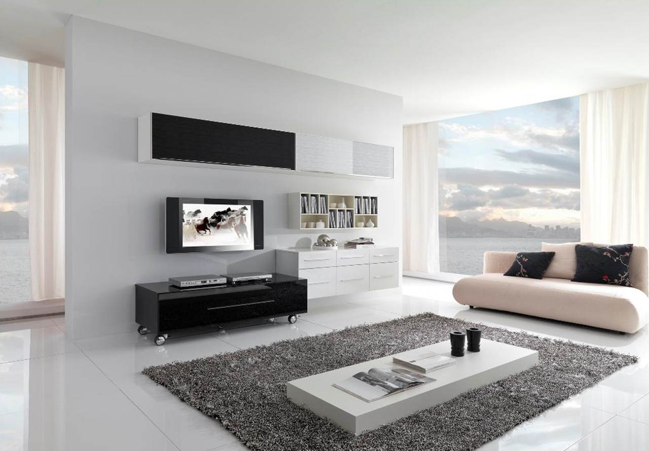 17 inspiring wonderful black and white contemporary - Contemporary design for small living room ...