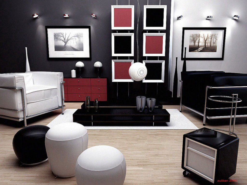 17 inspiring wonderful black and white contemporary for Sitting room designs pictures