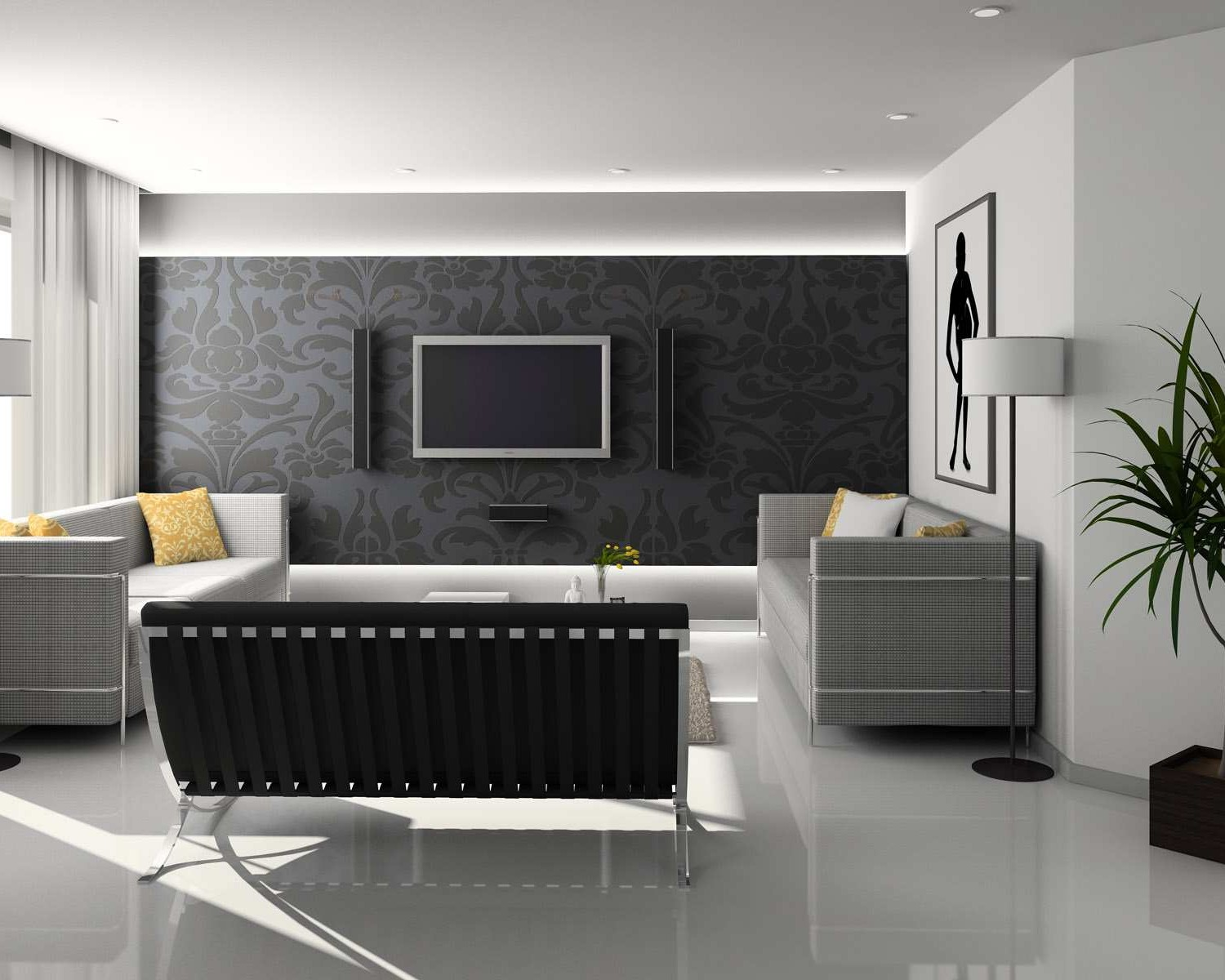17 inspiring wonderful black and white contemporary for Living room ideas white