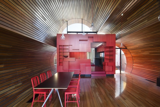 Cloud House in Melbourne by McBride Charles Ryan Homesthetics red wood kitchen