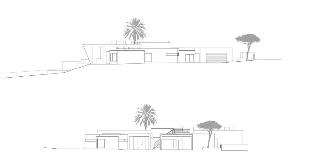 facades and plans of Colunata House by Mario Martins in Lagos, Algarve, Portugal, Great Example of a Modern Mansion (4)