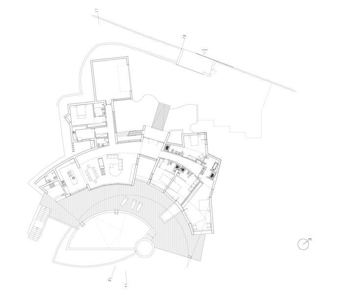 floor plan and blueprint of the Colunata House by Mario Martins in Lagos, Algarve, Portugal, Great Example of a Modern Mansion (4)