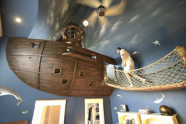 Creative Environment- The BoatroomBedroom by Steve Kuhl custom made boatroom for modern mansion (5) walking towards the pirate ship