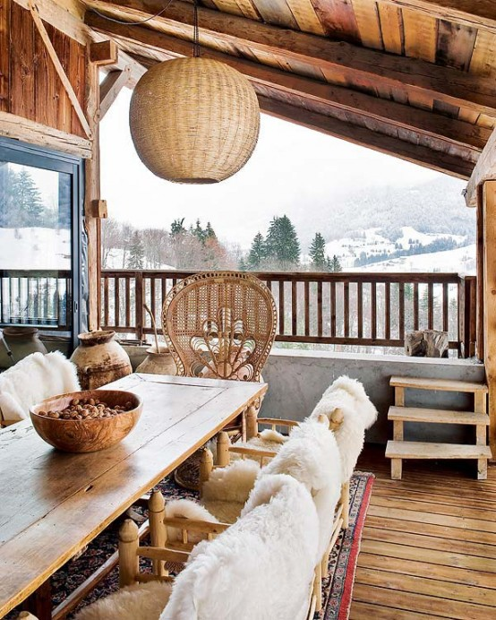 amazing terrace decorated in white Farmhouse Transformed in an Amazing Chalet With Vintage Accents by Lionel Jadot modern mansion alternative (1)