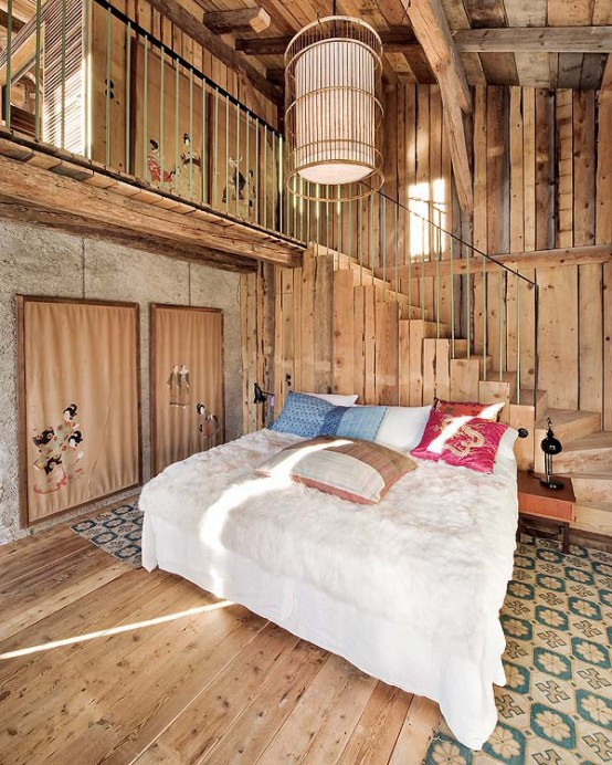 small bedroom design by the stair of Farmhouse Transformed in an Amazing Chalet With Vintage Accents by Lionel Jadot modern mansion alternative (1)