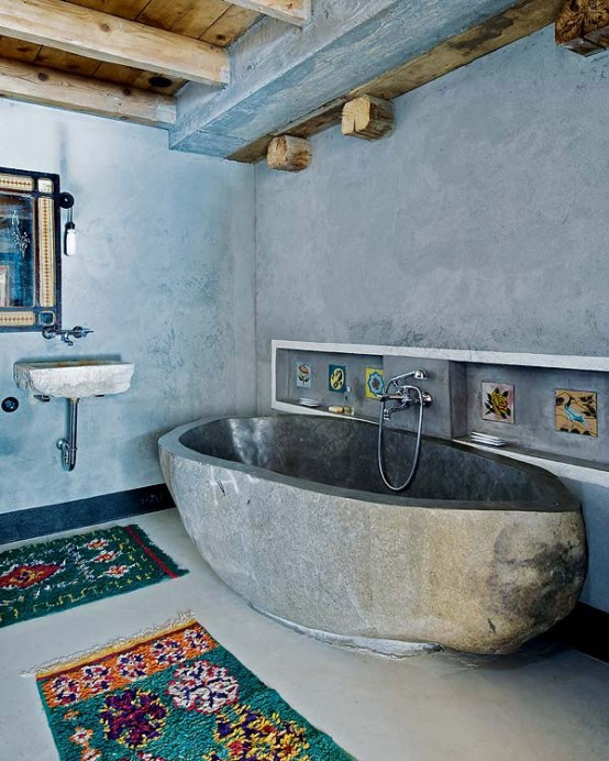 stone and concrete bathroom Farmhouse Transformed in an Amazing Chalet With Vintage Accents by Lionel Jadot modern mansion alternative (1)
