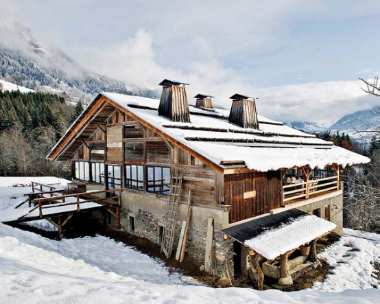 exterior view Farmhouse Transformed in an Amazing Chalet With Vintage Accents by Lionel Jadot modern mansion alternative (1)
