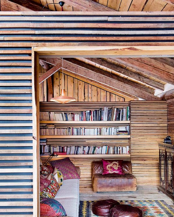 libraby by the stair Farmhouse Transformed in an Amazing Chalet With Vintage Accents by Lionel Jadot modern mansion alternative (1)