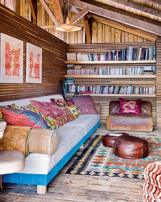 sofa area and library Farmhouse Transformed in an Amazing Chalet With Vintage Accents by Lionel Jadot modern mansion alternative (1)