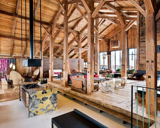 living room interior design Farmhouse Transformed in an Amazing Chalet With Vintage Accents by Lionel Jadot modern mansion alternative (1)