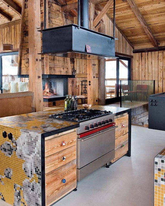 warmth and coziness in a kitchen Farmhouse Transformed in an Amazing Chalet With Vintage Accents by Lionel Jadot modern mansion alternative (1)