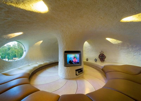 round living room design  Higly Organic Fluid and Colorful Mansion in Mexic-Nautilus by Javier Senosiain
