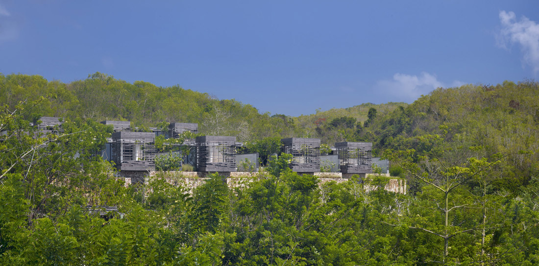 Luxurious Interior Design Hosted in Heaven- Alila Villas Uluwatu by WOHA Architects frontal view with vegetation