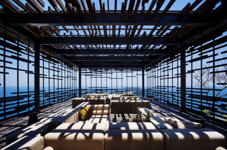 Luxurious Interior Design Hosted in Heaven- Alila Villas Uluwatu by WOHA Architects fintration of sun rays relaxation area luxury