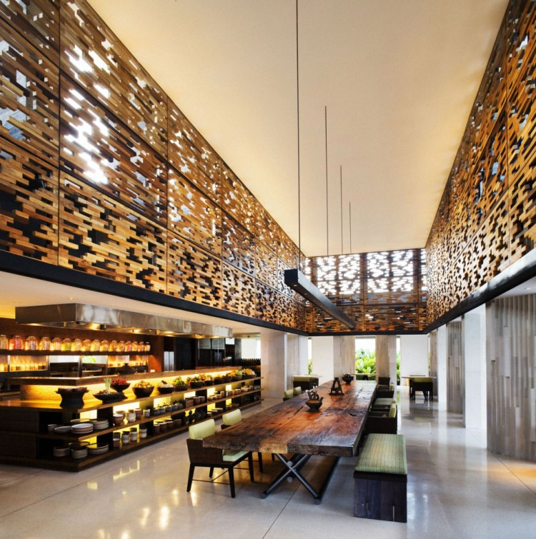 Luxurious Interior Design Hosted in Heaven- Alila Villas Uluwatu by WOHA Architects private villa contemporary interior design expressing coziness and wealth restaurant dinning area luxuriuous decadent