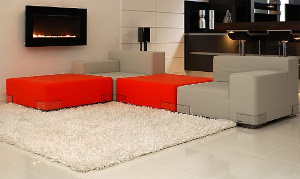 Modern Bachelor Pad Ideas red couch