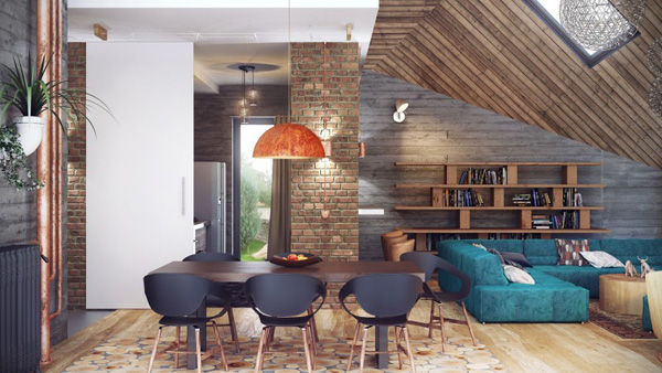 dinning area on Modern Loft in Minsk Featuring Rusty Pipes and Vintage Apparel by Uglyanitsa Alexander homesthetics (5)