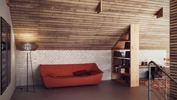 red sofa on Modern Loft in Minsk Featuring Rusty Pipes and Vintage Apparel by Uglyanitsa Alexander homesthetics (10)