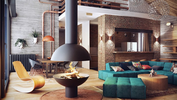 modern living room detail on rusty pipes details Modern Loft in Minsk Featuring Rusty Pipes and Vintage Apparel by Uglyanitsa Alexander homesthetics (9)