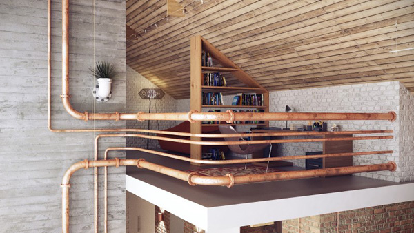rusty pipes details Modern Loft in Minsk Featuring Rusty Pipes and Vintage Apparel by Uglyanitsa Alexander homesthetics (9)