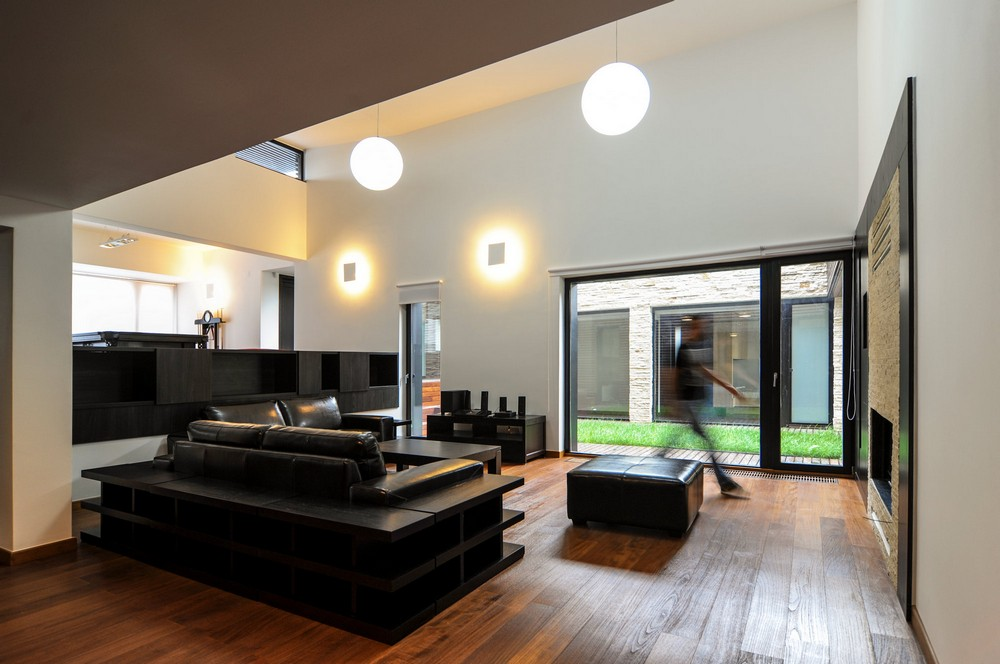 black and white living room interior design House-in-House