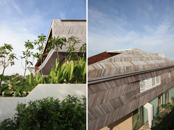 roof detail Modern Sustainable Eccentric Stereoscopic Weekend Retreat Finished in a Variety of Textures (27)