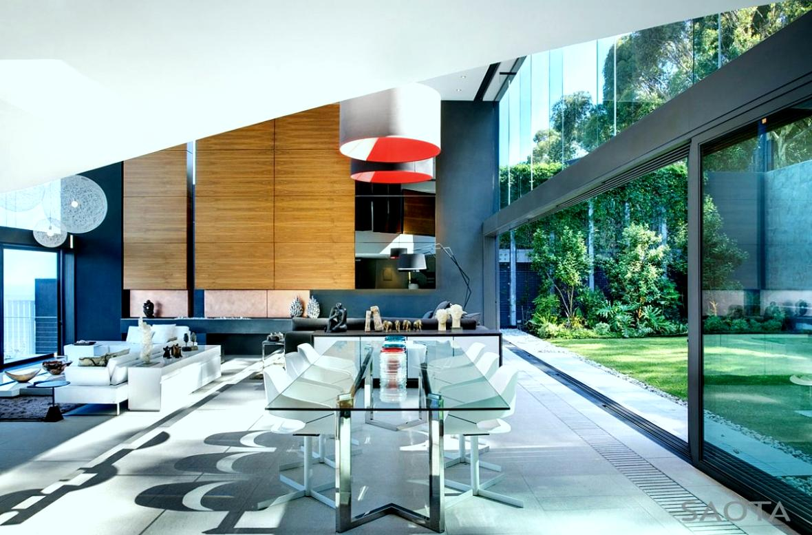 Nettleton 198 in Cape Town by SAOTA: Contemporary Modern Mansion dinning area incredible choice of materials mix of colors rich