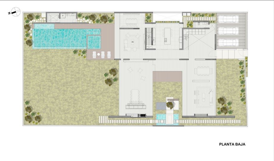 blueprint floor plan of the Opulent Mansion Connected to the Envinronment Trough Central Courtyard   La Planicie House