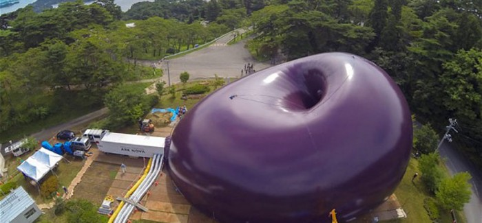 Sustainable Design Solving Japan`s Flood Hit Areas Problems | Ark Nova Inflatable Concert Hall  image from above plum design