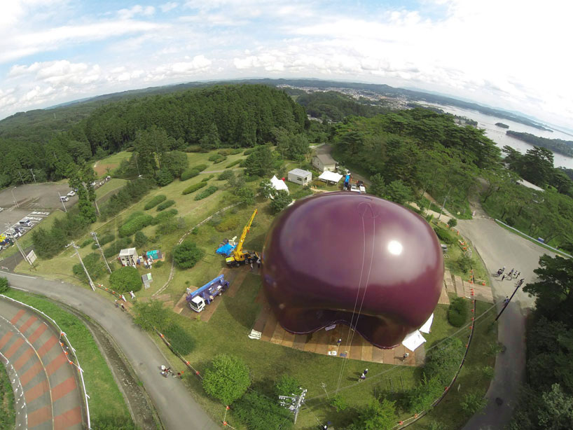 Sustainable Design Solving Japan`s Flood Hit Areas Problems | Ark Nova Inflatable Concert Hall  air view plum inflated design