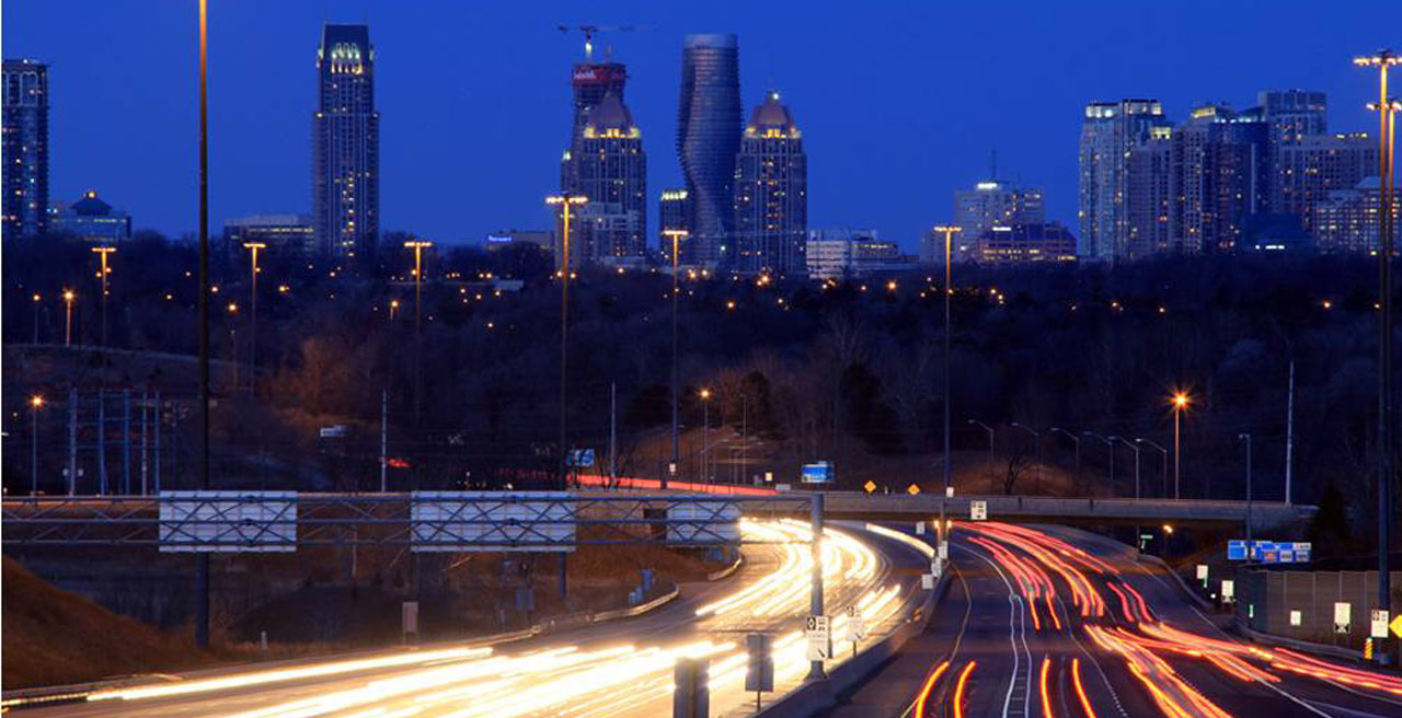 """The Absolute Towers in Canada by MAD Architects  """"Marylin Monroe Towers"""" nightime"""
