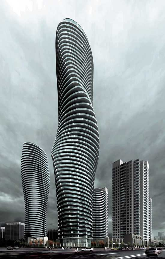 "The Absolute Towers in Canada by MAD Architects  ""Marylin Monroe Towers"" fluid design"