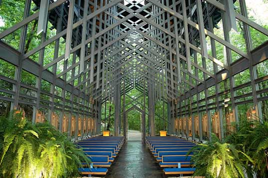 Thorncrown Chapel by E. Fay Jones   perfect ilumination unusual shape and size perfect integration modern concept design