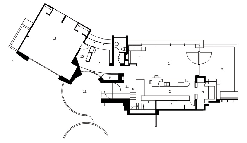 horizontal section plane trough Wilkinson Residence in Oregon by Robert Oshatz luxurious modern mansion into the forest (1) blueprint