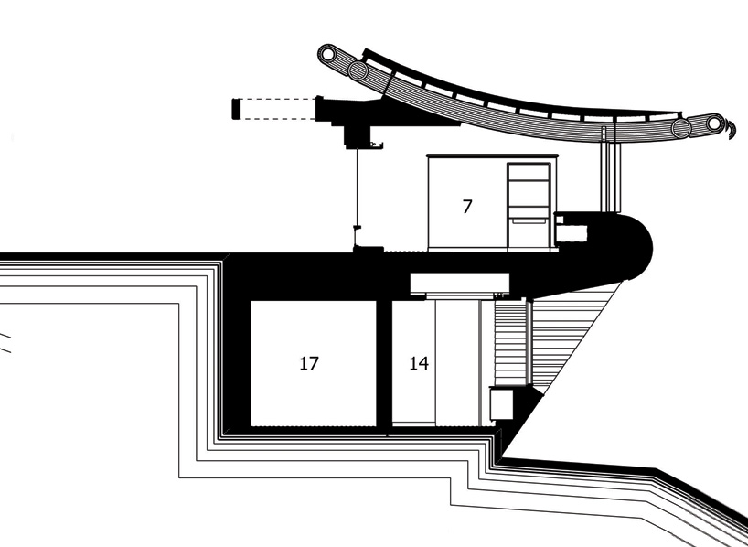 vertical section plane trough Wilkinson Residence in Oregon by Robert Oshatz luxurious modern mansion into the forest (1) blueprint