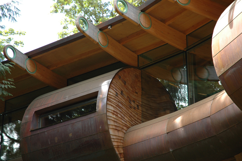 strange shapes in Wilkinson Residence in Oregon by Robert Oshatz luxurious modern mansion into the forest (1)