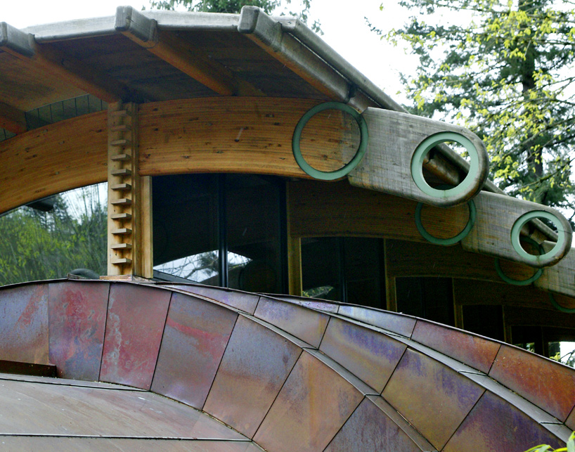 circular organic and fluid shapes surprised in Wilkinson Residence in Oregon by Robert Oshatz luxurious modern mansion into the forest (1)