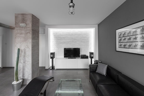 Luxurious high end apartment transformation hosting iconic White grey interior design