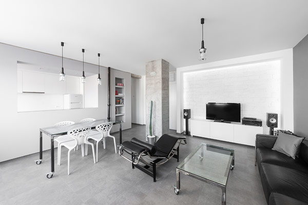 Entertainment Console In Storage In Cactus In A Black And White Living Room  Design Apartment