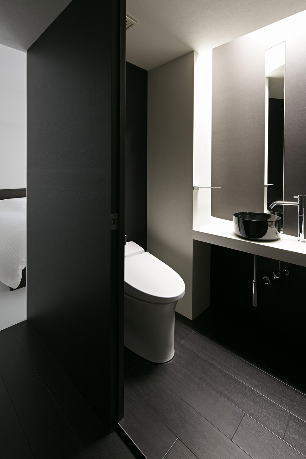 black and white apartment design in tokyo contemporary interior design minimalsit space clean lines edgy contemporary design clena space bathroom design  elegant finishes