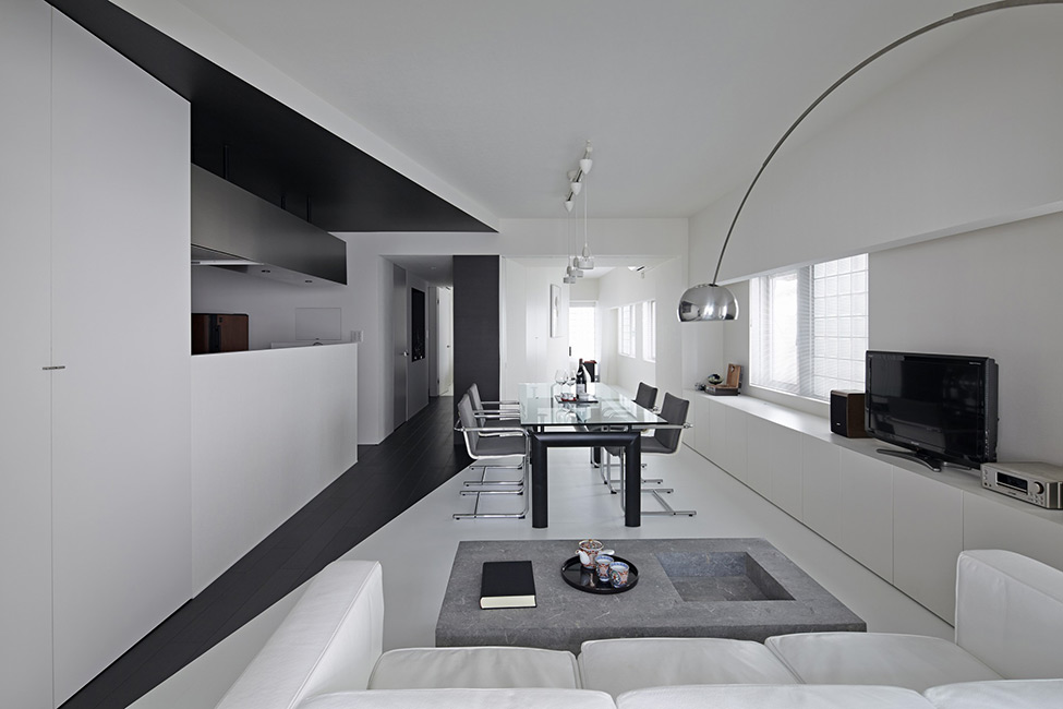 black and white apartment design in tokyo contemporary interior design minimalsit space clean lines edgy contemporary design