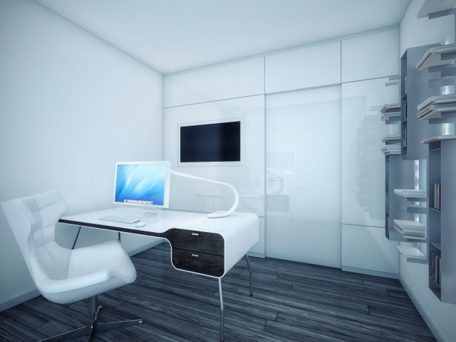 simple room clean lines touch of black elements black and white contemporary design simple office room