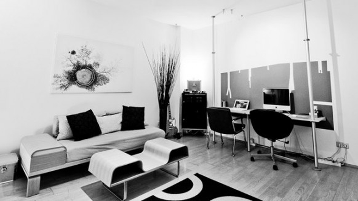 simple room clean lines touch of black elements black and white contemporary design modern edgy space
