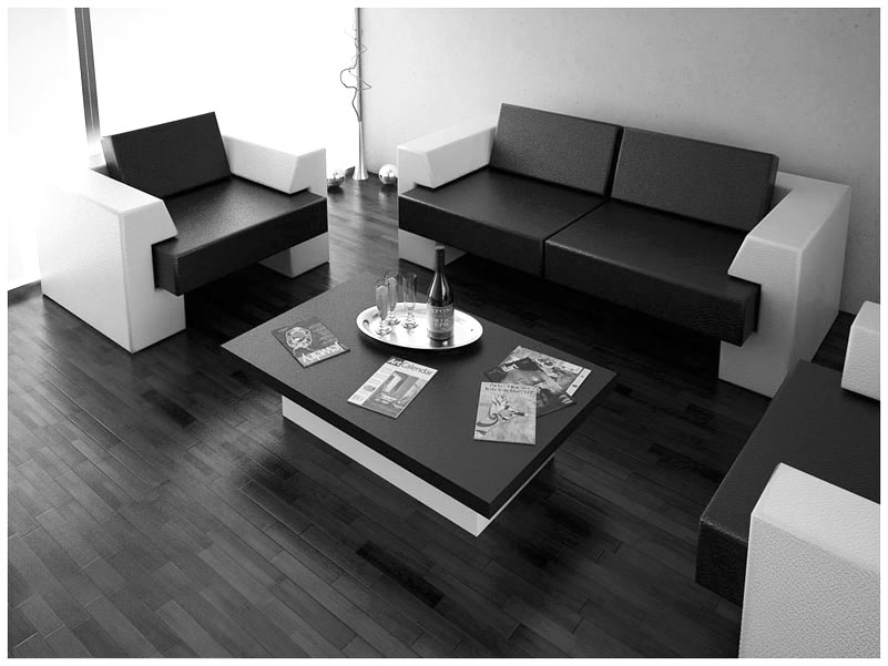 ... Black And White Furniture In Simple Space ...