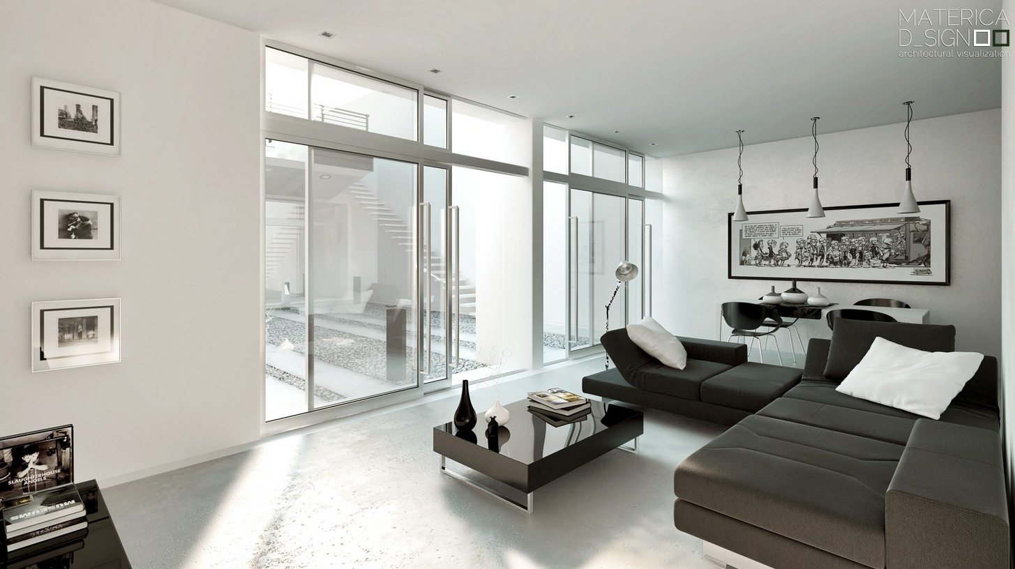 clean minimalist space with black and white interior design