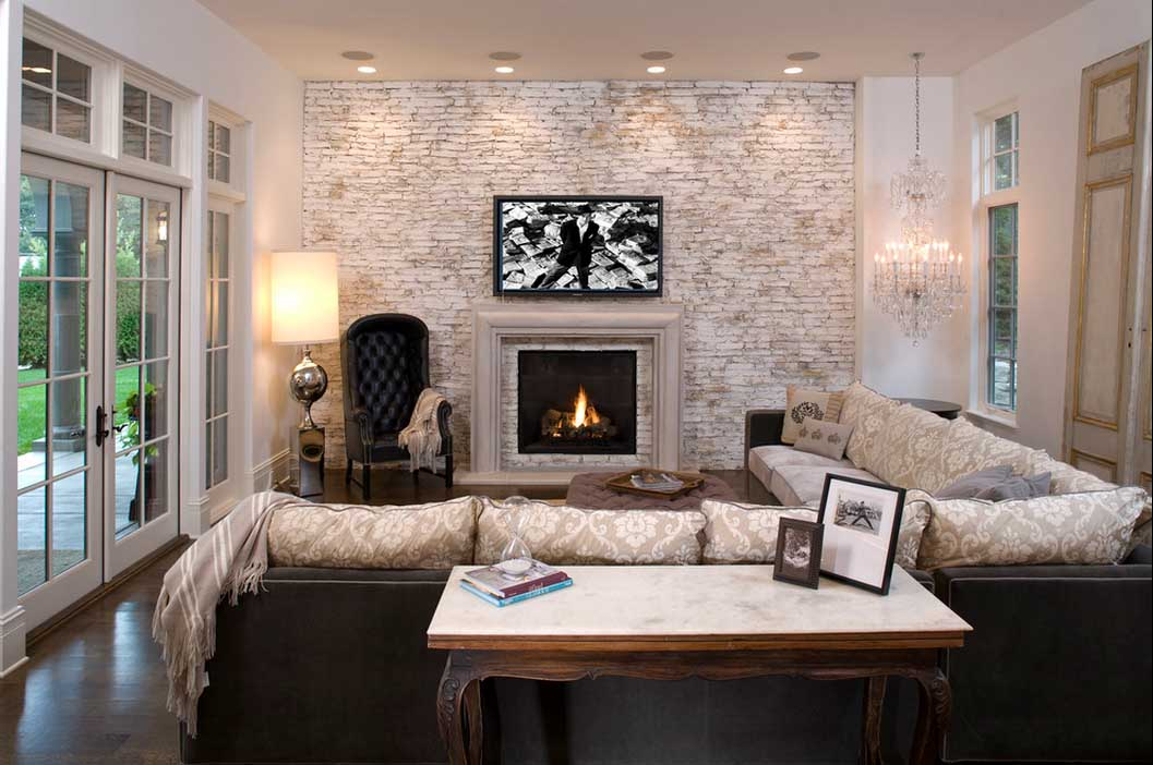 Cozy Black And White Living Room With Black Accents