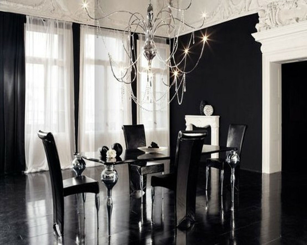 elegant chic space dinning area black and white contemporary design