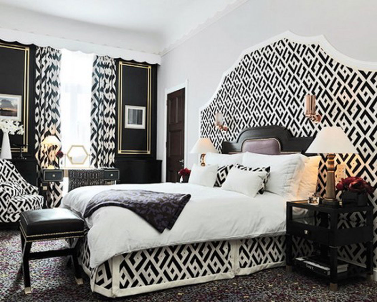 eclectic style with black and white integrated elements in interior contemporary design