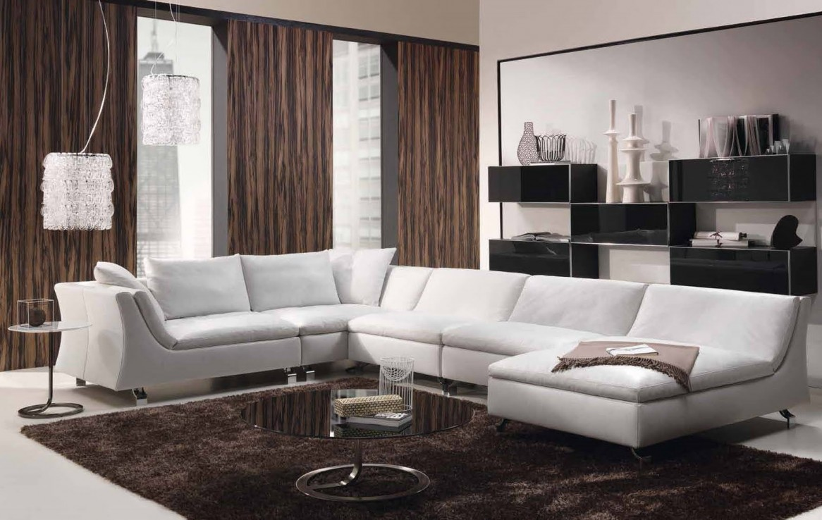White couch in minimalsit interior design